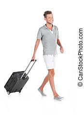 profiel, wandelende, zak, bagage, het glimlachen., het trekken, achtergrond, kerel, mooi, witte , man