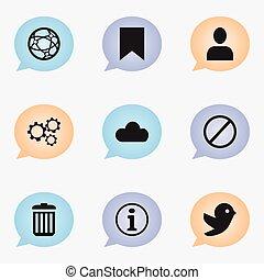 profiel, web, netwerk, set, zijn, icons., groenteblik, editable, negen, gebruikt, omvat, symbolen, bak, infographic, ui, web, hergebruiken, zulk, more., beweeglijk, design.