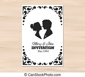 profiel, wo, trouwfeest, silhouettes, vector, uitnodiging, man