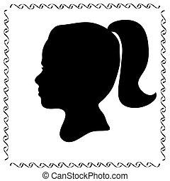 profiel, zwart meisje, silhouette, gezicht