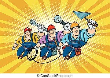 profik, építő, állhatatos, villanyszerelő, repairer