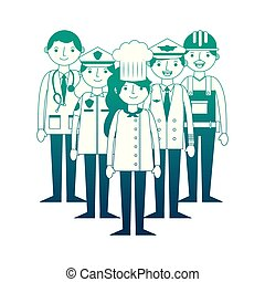 profik, csoport, emberek, munkás, munka nap, foglalkozás