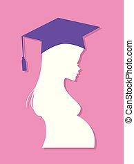 profil, école, pregnant, diplômé, élevé, girl