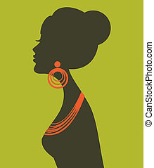 profil, élégant, femme