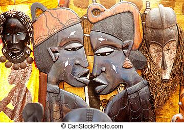 profil, africaine, handcraft, bois, découpé, faces