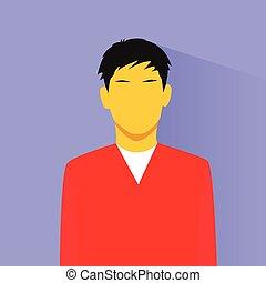 profil, asie, personne, avatar, portrait, mâle, désinvolte, icône
