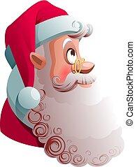 profil, auf., kopf, blick, claus, abbildung, weihnachten, santa, karikatur, ansicht