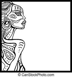 profil, av, vacker, afrikansk, woman.