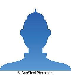 profil, błękitny, korzystać, avatar, tło, towarzyski, biały samczyk, ikona