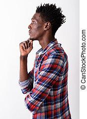 profil, b, pensée, jeune, contre, noir, africaine, blanc, vue, homme