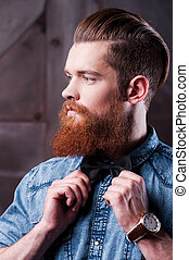 profil, barbu, sien, ajustement, jeune, arc, regarder, tout, devoir, perfect., portrait, cravate, beau, loin, homme