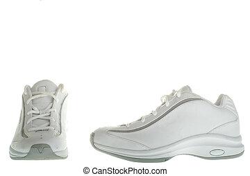 profil, baseketball, paire, chaussures, côté