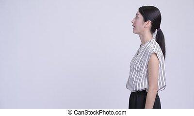 profil, beau, femme affaires, haut, regarder, asiatique, heureux, vue