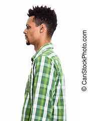 profil, beau, jeune, africaine, portrait, homme, vue
