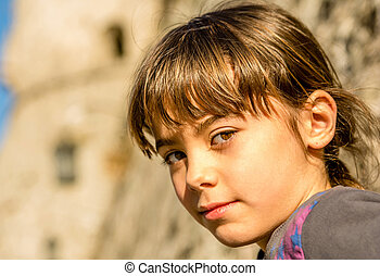 profil, beau, peu, foyer, fille souriant
