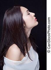 profil, belle femme, jeune, sensuelles