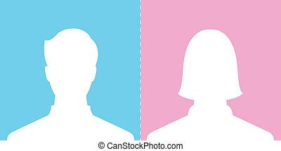profil, bild, mann, weibliche