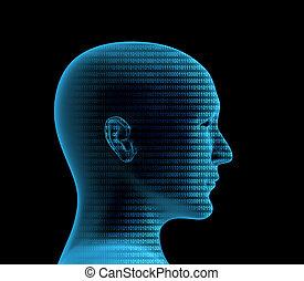 profil, binärcode, menschliche , 3d