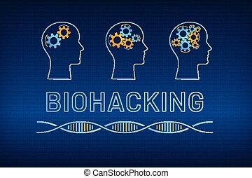 profil, bio, huvud, begrepp, drev, hjärna, dataintrång