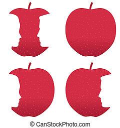 profil, biter, äpple, röd