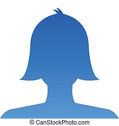 profil, blaues, gebrauch, weibliche , soci, avatar,...