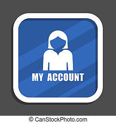 profil, blaues quadrat, wohnung, design, web, ikone