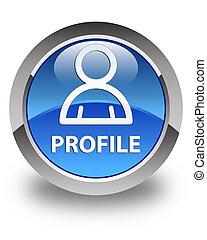 profil, blaues, taste, icon), glänzend, (member, runder