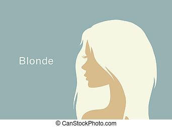 profil, blond, girl