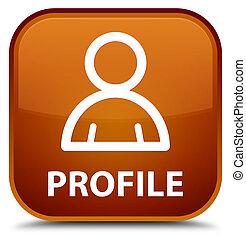 profil, brauner, quadrat, taste, (member, icon), besondere