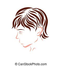 profil, brun, homme, jeune, cheveux