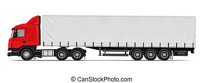 profil, côté, semi-camion, vue