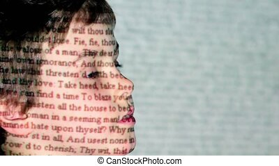 profil, chłopiec, rzut, w., romeo, ruch, tekst, shakespeare...