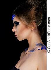 profil, charmant, femme, vogue., maquillage, jeune, artistique, branché