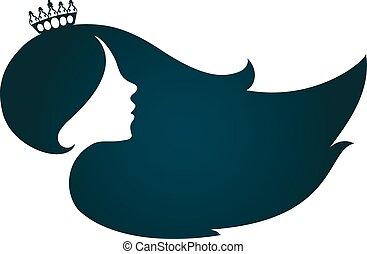 profil, cheveux, girl, couronne