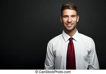 profil, chodząc, krawat, przód, młody, ciemny, zaufany,...