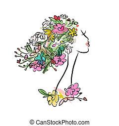 profil, coiffure, conception, femme, floral, ton