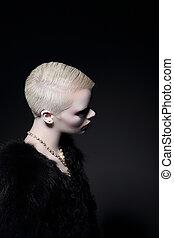 profil, coiffure, mode, charisma., modèle, bob, blond