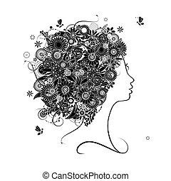 profil, coiffure, silhouette, conception, femme, floral, ton
