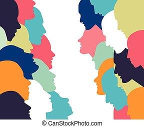 profil, concept., discussion., folk prata, huvud