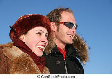 profil, couple, hiver, faces