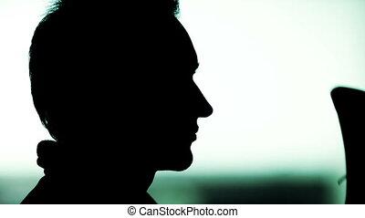 profil, czarnoskóry, sylwetka, człowiek