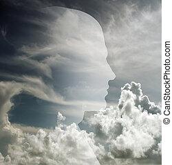 profil, dans, nuages