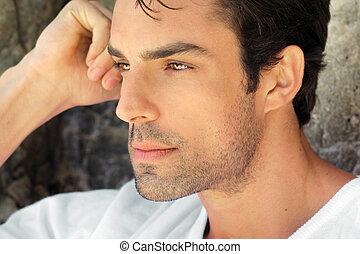 profil, de, sexy, homme