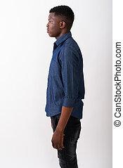 profil, debout, b, jeune, contre, noir, africaine, blanc, vue, homme