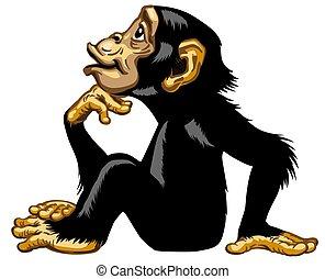 profil, denker, schimpanse, karikatur