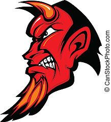 profil, diabeł, ho, wektor, maskotka
