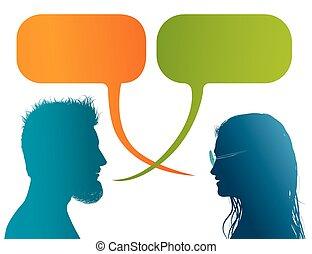 profil, dialogue, couple, silhouette, coloré, bubble., communication, discussion, gens, -, isolé, conversation, vecteur, parole, entre, woman., ou, homme