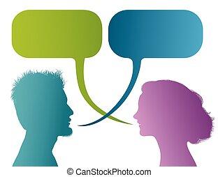 profil, dialogue, silhouette, coloré, bubble., communication, discussion, gens, -, isolé, ou, conversation, vecteur, parole, bavarder, entre, woman., couple, homme