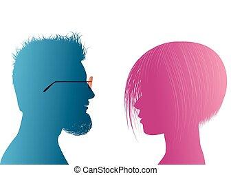 profil, dialogue, silhouette, coloré, conversation, communication, gens., couple., conversation, vecteur, businessman., entre, woman., femme affaires, homme