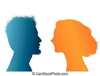 profil, dialogue, silhouette, coloré, conversation, femme affaires, gens., entre, jeune, couple., conversation, vecteur, businessman., communication, woman., homme